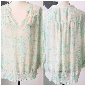NWOT! PRETTY NY & CO FLORAL SHEER BLOUSE SIZE L
